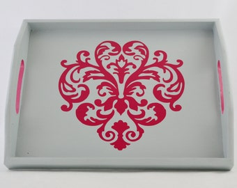 Pink Damask Design on a Gray Wood Serving Tray, Coffee Tray, Tea Tray, Breakfast Tray