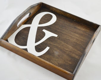Ampersand Stained Wooden Serving Tray with handles, coffee tray