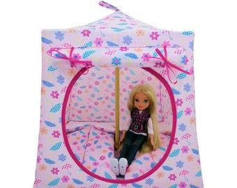 Toy Pop Up Tent, Sleeping Bags, light pink, flower & umbrella print fabric for dolls, stuffed animals