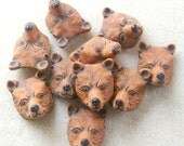 Peruvian Ceramics Brown Bear  Animal Head Pendant Bead Craft Supplies Jewelry Making Bead Supplies Ceramic Beads (2)