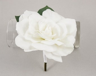 White Gardenia Boutonniere. Real Touch flowers for groom, groomsmen, fathers. Corsage, women, bridesmaids, mothers
