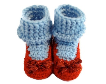 Dorothy's Ruby Red Sparkle Slippers Crochet Shoes with Blue Socks Inspired by Wizard of Oz for Infant Baby Preemie Very Small Newborn Size