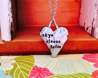 Sale---NEW-Hand Cast Pewter Heart Hand Stamped Necklace
