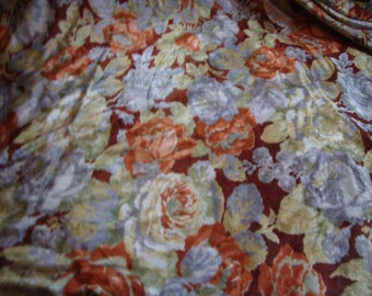 Vintage FABRIC Velour Roses Brown Grey Rust