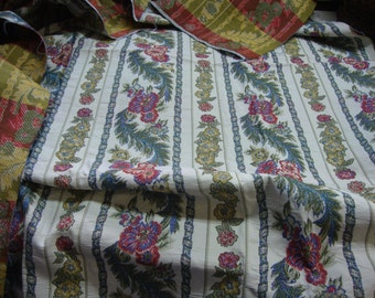 Vintage FABRIC Home Dec Stripe Tapestry Floral