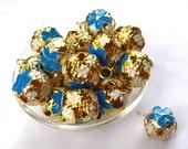 10pcs Sky Blue Flower Jingle Bells 15mm End Charm Christmas Decoration b052
