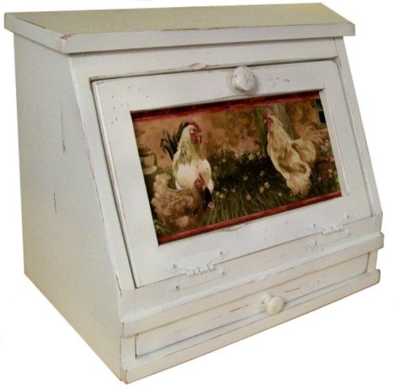 Kitchen Bread Drawer: Country Rooster Bread Box W/ Drawer