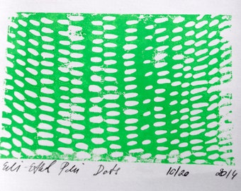 linocut dots paper original print green abstract rain composition contemporary fine art scandinavian home wall