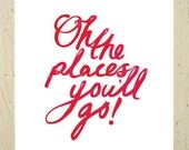 Dr Seuss 'Oh The Places You'll Go' typographic print - red, large. A stylish print for the nursery by Erupt Prints