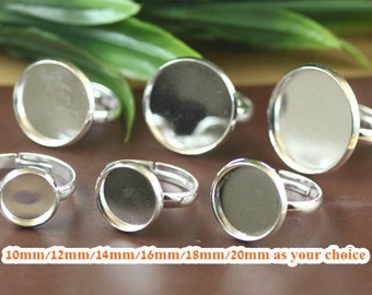 20 Ring Base Brass Silver Plated Tone Adjustable Ring W/ 10mm/ 12mm/ 14mm/ 16mm/ 18mm/ 20mm Round Bezel Cup Setting Cabochon Mounting- Z7147