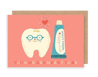You & Me Are Meant To Be Greetings Card - Cute, romantic, love