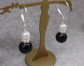 Black Pearl and Crystal Earrings, Dangle Earrings, Pearl Earrings, Bead Earrings, Drop Earrings