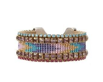 Pastel beadloom bracelet - Swarovski crystal tribal/aztec inspired cuff bracelet - hippie statement cuff - pastel chevron beadwork