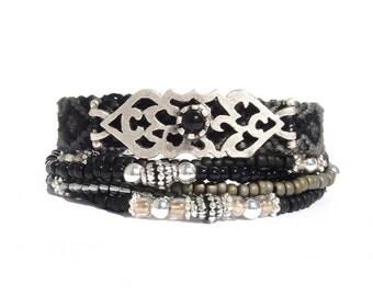 SALE - Multi strand beaded bracelet - black multiple strands layering bracelet - black friendship bracelet - multiple rows bohemian bracelet
