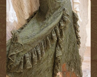 Olive Green Lace Gypsy Renaissance Ruffle Skirt