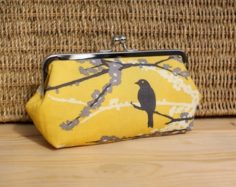 Yellow and Grey Sparrow Bird Bridesmaid Clutch - the Emma Style Clutch