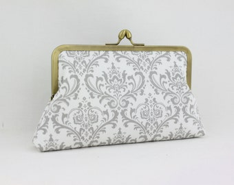 Gray and White Damask Bridesmaid Clutch / Wedding Purse / Gift for Her - the Florence Style Clutch