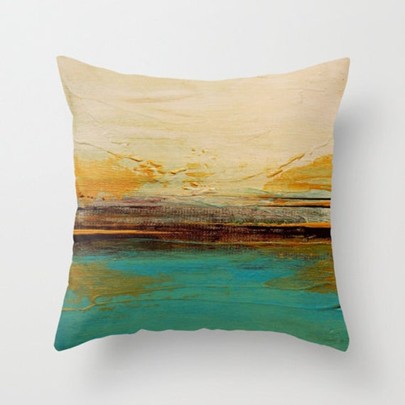 Brown Throw Pillows Etsy : Teal and Brown Decor Throw Pillow by LizMosLoft on Etsy