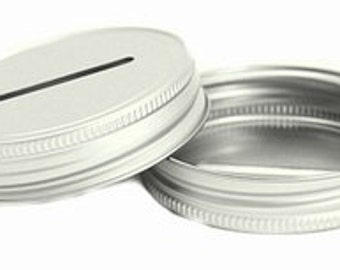 12 COIN SLOT LIDS Mason Jar Glass Jars Bank Diy Piggy Bank Slotted Slot Money Aluminum Galvanized Lids