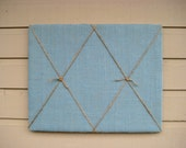Pin Board made from Burlap and Jute Twine in a Nautical style in Turquoise Blue. Display photos, cards and memos at the cabin or home office