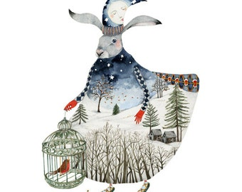 Hare Print Winter Moon Hare 8x11 Giclee Print