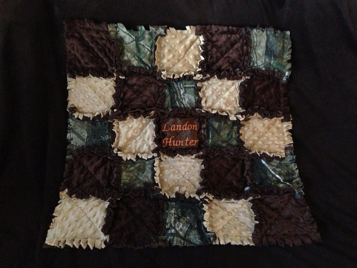 Real Tree Camo Baby Quilt Blanket With Safety Orange
