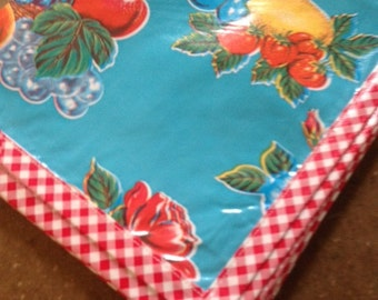 69x100 Oilcloth Tablecloth in Roses and Lemons Light Blue with Red Gingham Trim