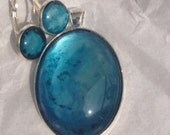 Large Blue Oval Pendant with Matching Earrings