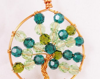 Wire Wrapped Copper Tree of Life Pendant Necklace  (Summer Tree)