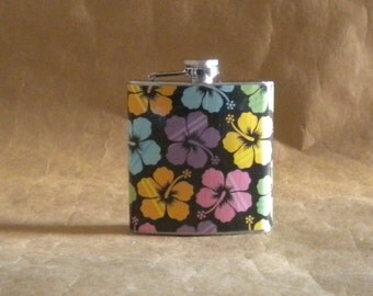 Destination Wedding Flask SALE Tropical Hibiscus Flower Print 6 ounce Stainless Steel Gift Flask KR2D7485