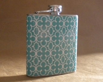 Blue and White Mosaic Print 6 ounce Stainless Steel Bridesmaids Gift Flask KR2D 7617