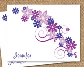 Personalized Stationery - Purple Floral (Set of 10)