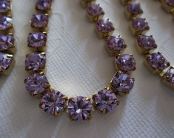6mm Purple Rhinestone Chain - Brass Setting - Purple Violet Czech Crystals - Large Crystal Size 29SS