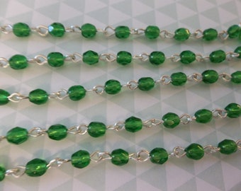Bead Chain Bright Green 4mm Fire Polished Glass Beads on Silver Beaded Chain - Qty 18 Inch strand