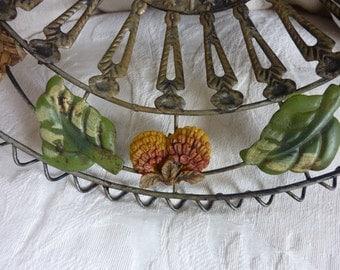 Unique Vintage basket tray fruit bowl ornate Wicker Metal & Handles Leaf Wedding Card Holder