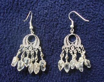 chandelier earrings raw topaz