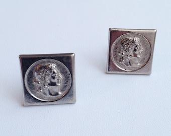 vintage silver cuff links / 1960s cuff link / groom accessories / vintage menswear