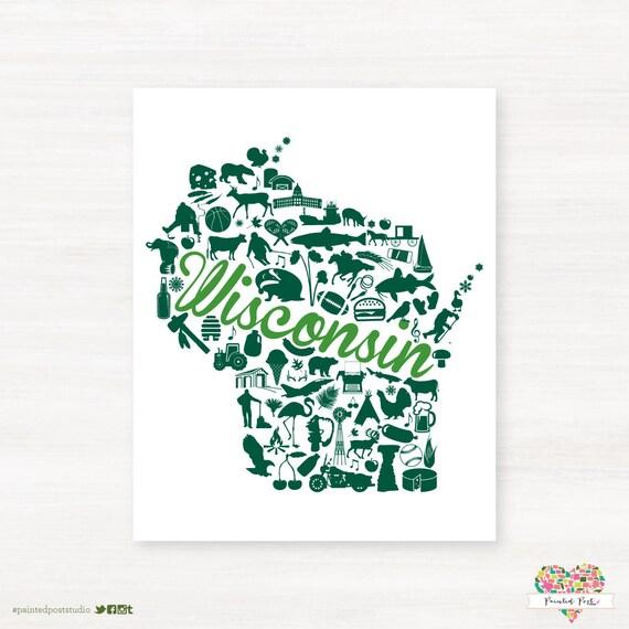 Green Bay Wisconsin Landmark State Gicl E Map Art Print