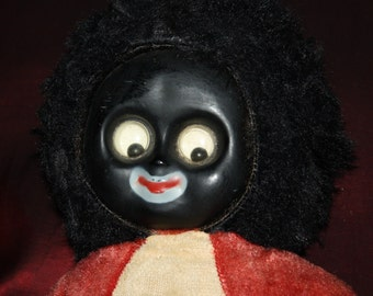 Antique Black Americana Negro Cloth Doll: Celluloid Face, Googly Eyes, Vintage 1920s-'30s, Original