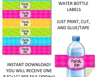 Printable DIY Wonderland Theme Water Bottle Labels - Drink Me