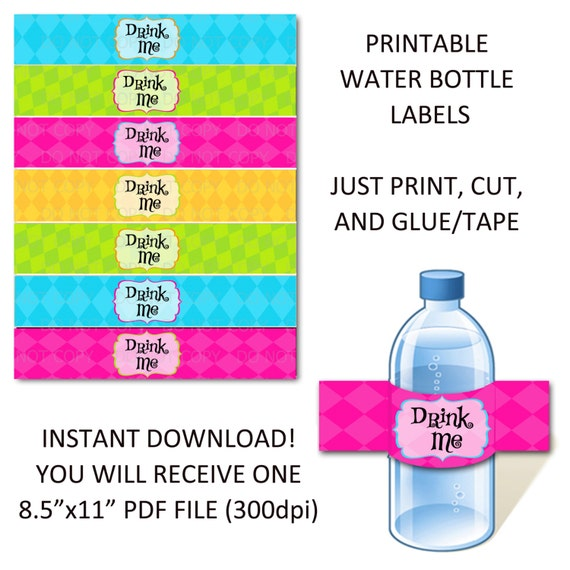 Adorable image for water bottle labels printable
