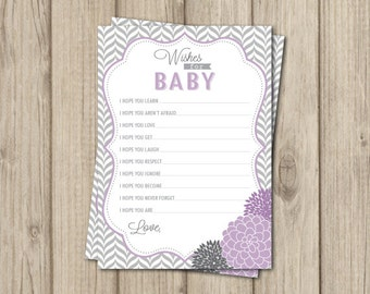 Purple Wishes for Baby Card - Wishes for Baby - Purple Baby Shower