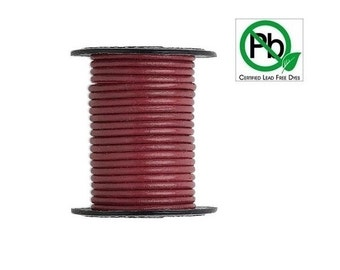 Round Leather Cord Rose 2mm 25meters Section