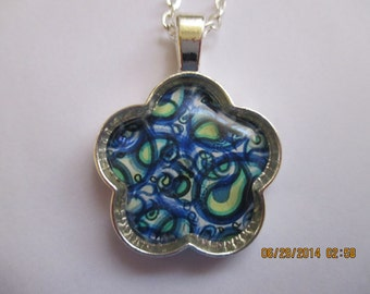 Blue and Green Paisley Design Necklace