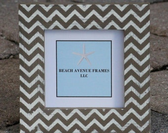 Hand Painted Picture Frame Chevron Theme