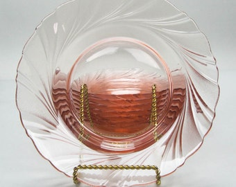 French Pink Glass Salad Plates Vintage Vereco Rivage Pattern Made in France Set of Eight