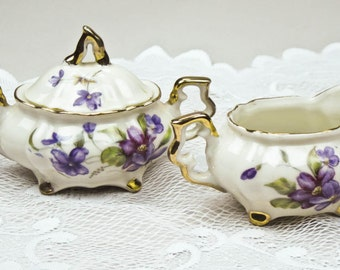 Mini Creamer and Sugar Bowl Set Fine China Ivory Background Hand Painted Violets