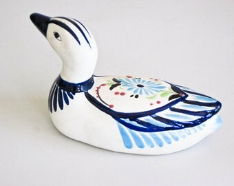 Mexican Folk Art Mexican Pottery Blue and White Duck Collectible Shelf Sitter Home Decor