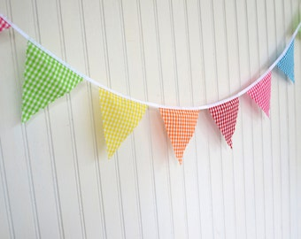 Affordable Mini Pennant Flag Bunting - Summer Market Gingham - Newborn Photo Prop, Nursery Wall Hanging, Baby Shower