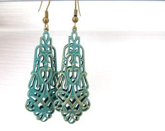 Green Petina Brass Ornate Earrings, Green Brass Dangle Earrings, Petina Jewelry, Filigree Earrings, Gift For Women, Free US Shipping
